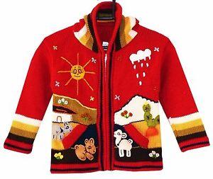 3 Gr Kinder Strickjacke rot bunt Nr 98*104 Kapuze Peru Bauernhof Tiere Alpaka