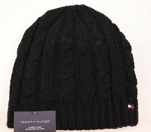 3804a9bdbadbca NWT TOMMY HILFIGER OS Men's Black Cable Knit Full Fleece Lined ...