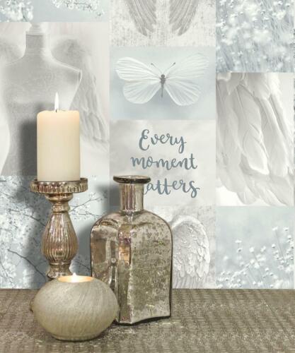 Daydreamer Paillettes Papier Peint Gris Argent Ailes d/'ange Floral Typographie Arthouse