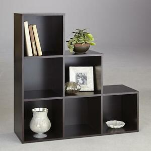 New Brown 6 Cube Step Storage Unit Shelves Room Furniture