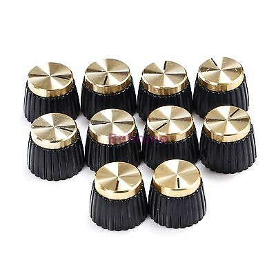 10 X Guitar AMP Knobs Black With Gold Cap fits Marshall Amplifier