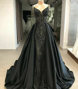 Details About Gorgeous Mermaid Gothic Black Formal Dresses Arabic Evening Gown Party Prom