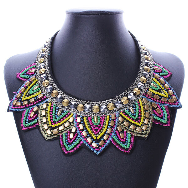 Pendant Chain Jewelry Women Bib Statement Crystal Beaded Collar Necklace Choker