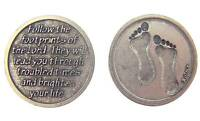 Mrt 1 Footprints Prayer Antique Finish Silver Plate Catholic Coin Medal 1 Italy