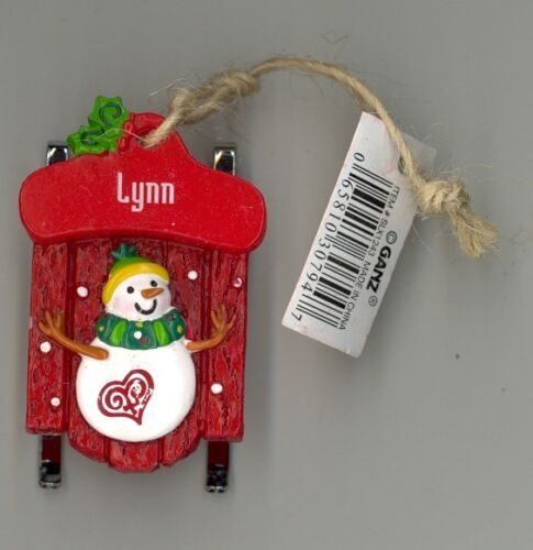 Ganz Snowman Sleigh Sled Ornament Personalized /'Lynn/' ~ Stocking Stuffer ~ Gift