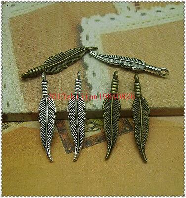 15/50/200pcs 32x6.mm Antique Silver/bronze Lovely details feather Charms Pendant