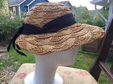 Womens Scalloped Woven Straw Vintage 50s Straw Hat w/Black Bow Size 22