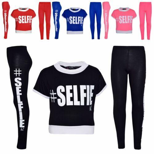Girls Top Kids #Selfie Print Designer Crop Top /& Fashion Legging Set 7-13 Years