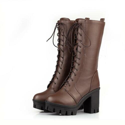 Womens Block High Heels Lace Up Combat Platform Goth Punk Mid Calf Boots Shoes