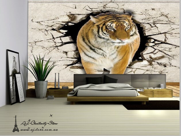 Huge 3D Tiger King Forest Wall Paper Wall Print Decal Wall Deco Indoor wall
