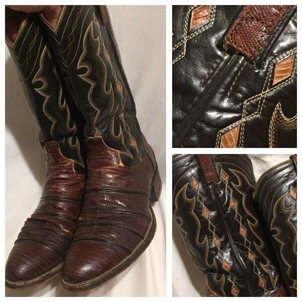 RARE VTG Dan Post braun Teju INLAY Lizard Cowboy Stiefel 9 D DISTRESS ROCKABILLY