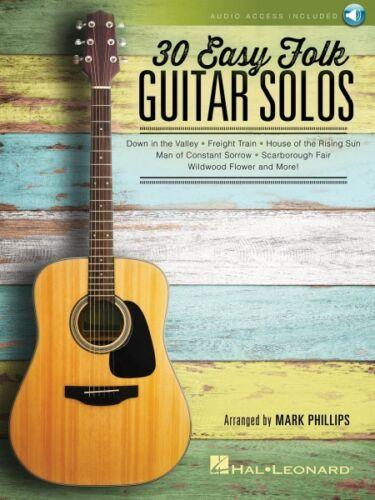 30 Easy Folk Guitar Solos Sheet Music Guitar Solo Book Audio Online 000158098