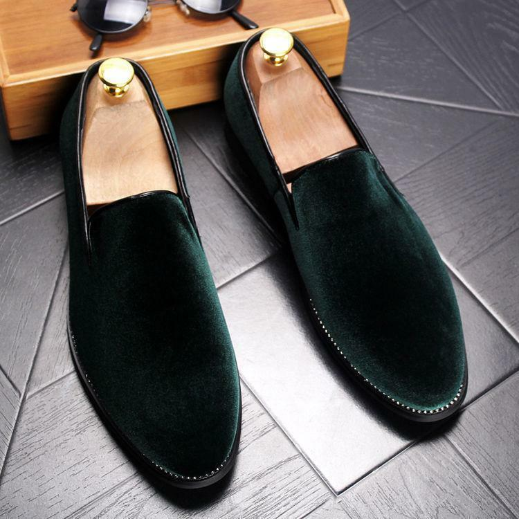 Mens Velvet Loafers Casual Dress Stylish Oxfords Formal Business Slip On shoes