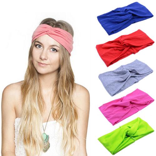 Lady Women Cotton Turban Twist Knot Head Wrap Headband Twisted Knotted Hair Band