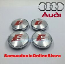 4 Tappi Coprimozzo Logo AUDI S LINE 60 mm Borchie hubcap A1 A3 A4 A5 A6 A8 Q5 Q7