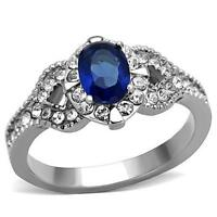 1.5ct Stainless Steel Oval Montana Blue Sapphire Cz Engagement Promise Ring