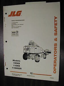 jlg 100hx 110hx hxer operator manual boom lift platform operation rh ebay com jlg aerial lift operators manual jlg 40 electric boom lift service manual