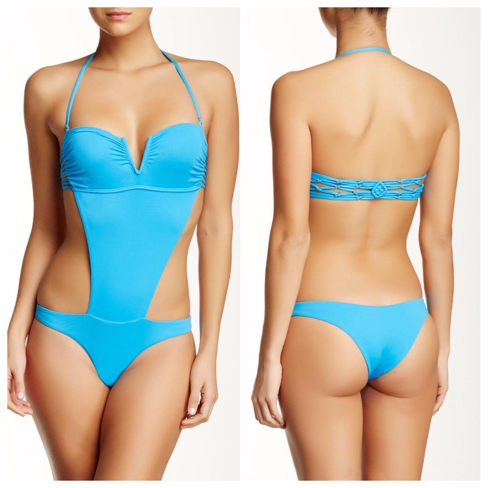 NWT  180 Frankie's Bikinis Cali Cutout One-Piece Swimsuit Azure bluee [SZ L]