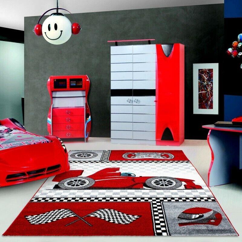 TAPPETI per auto bambini moderno camera rosso grigio Modello RALLY Ragazzi Tappeto Camera Da Letto Vivaio MAT