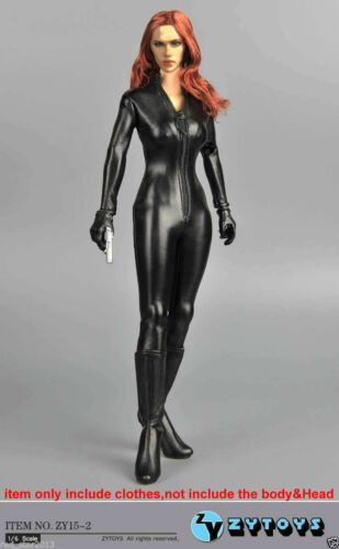 Black Female Clothes Set ZY TOYS 15-2 1//6 scale Jumpsuit Leather Corsetry