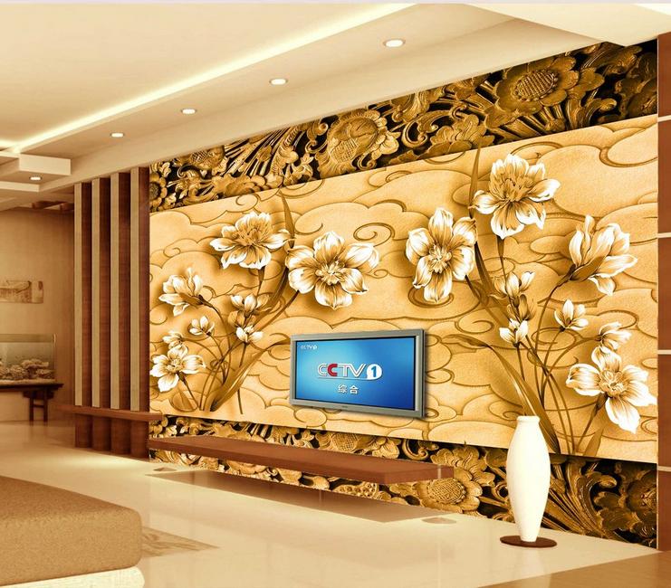 3D Flower Gold 545 Wallpaper Murals Wall Print Wallpaper Mural AJ WALL AU Lemon