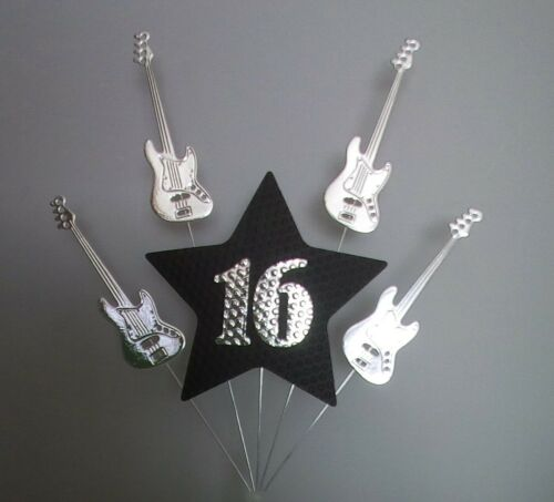 Guitar Theme Silver and Black. 16th BIRTHDAY CAKE TOPPER