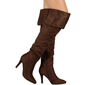 e926fe35a81 New Faux Suede Pointy Toe Stiletto Heel Fold-Over Boots Over The ...