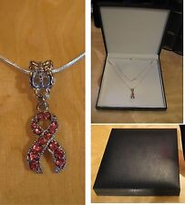 New 18 inch pink jewel ribbon pendant necklace with silver chain gift boxed
