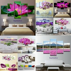 Details about Flowers Painting 5pc Canvas Print Lotus Orchid Poster Wall  Art Pink Purple Decor