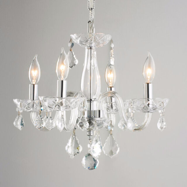 Us Brand Clarion Venetian 4 Light Clear Crystal Mini Small Chandelier 16 W