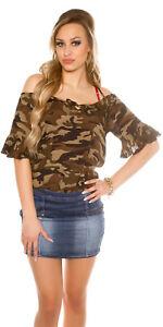Top-Camicetta-Donna-Camicia-Camouflage-CMP55-Army-SA474-Tg-Unica