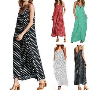 Women-039-s-Boho-Polka-Dot-Sling-Pocket-Dresses-Ladies-Summer-Holiday-Beach-Dress