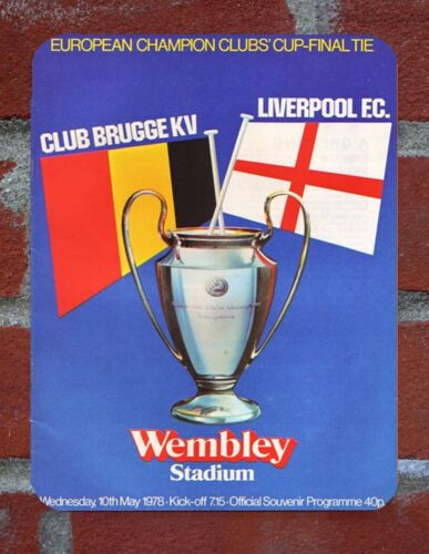 Liverpool Tin Sign 5 Champions League Final  Programmes Metal Sign Collection.