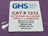 General Hospital Supply Steam-n-lene Tray Liners Cat 1212