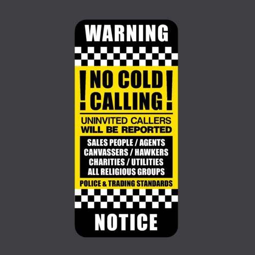 Letterbox No Cold Calling No Canvassers 45x95mm Sticker Front Door Sign