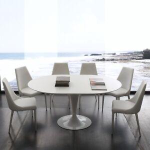 Tavolo Tondo Allungabile Bianco.Dettagli Su Tavolo Da Pranzo Tondo Acciaio Legno Fisso O Allungabile Laccato Bianco Nero 643