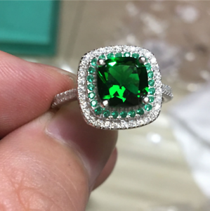 2Ct Cushion Cut Green Emerald Diamond Halo Engagement Ring 14K White gold Finish