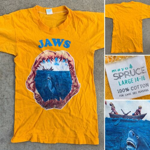 Vintage JAWS T-Shirt Yellow Mayo Spruce Single Sti