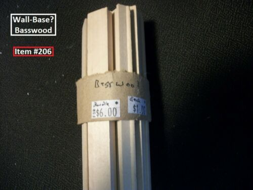 "Dollhouse Scale Lumber Basswood Ceiling Beams Item /""206/"". Wall-Base BUNDLE"