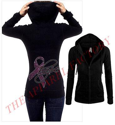 Rhinestone Women/'s Pullover Hoodie  Hope Cancer Ribbon  Sweatshirt Sm to 3X