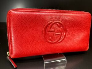 Auth-GUCCI-Soho-GG-Logo-Zip-Round-Leather-Large-wallet-Purse-Red-Italy-58417937