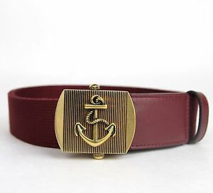 70234eae92e New Gucci Men s Burgundy Fabric Belt Military Anchor Brass Buckle ...