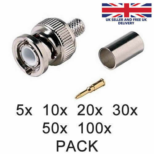 Pack of 5 BNC Male Crimp-on Connector for Coax Coaxial Cable RG59//62 CCTV