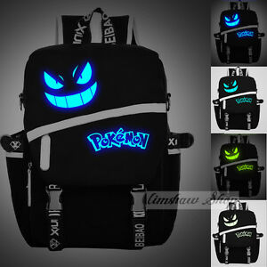 New-Anime-Pokemon-Luminous-School-Bag-Gengar-Face-Laptop-Backpack-Halloween-Gift