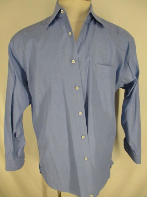 Lorenzini Mens Blue Long Sleeve Cotton Dress Shirt 41 16-32/33 Italy Made