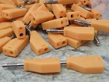 10x 4mm Budget  Banana Stack Stacking Plug / Sockets Orange 10A Test