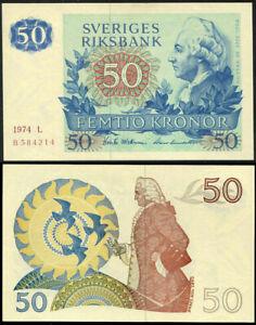 SWEDEN 50 KRONOR 1974 P 53 AUNC ABOUT UNC