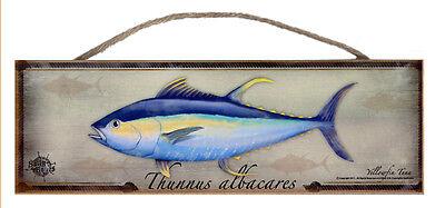 Yellow Fin Tuna Rustic Wall Sign Plaque Gifts Men Sea Fishing Fishermen Fish