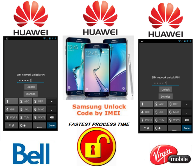 BELL / VIRGIN UNLOCK CODE FOR HUAWEI PHONE ANY CANADIAN MODEL