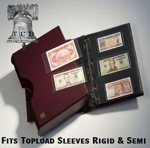 currency holder sleeve album case grande leather 3 ring binder green